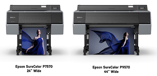 photo of the 24-inch Epson SureColor P7570 and 44-inch Epson SureColor P9570 wide-format pigment inkjet printers