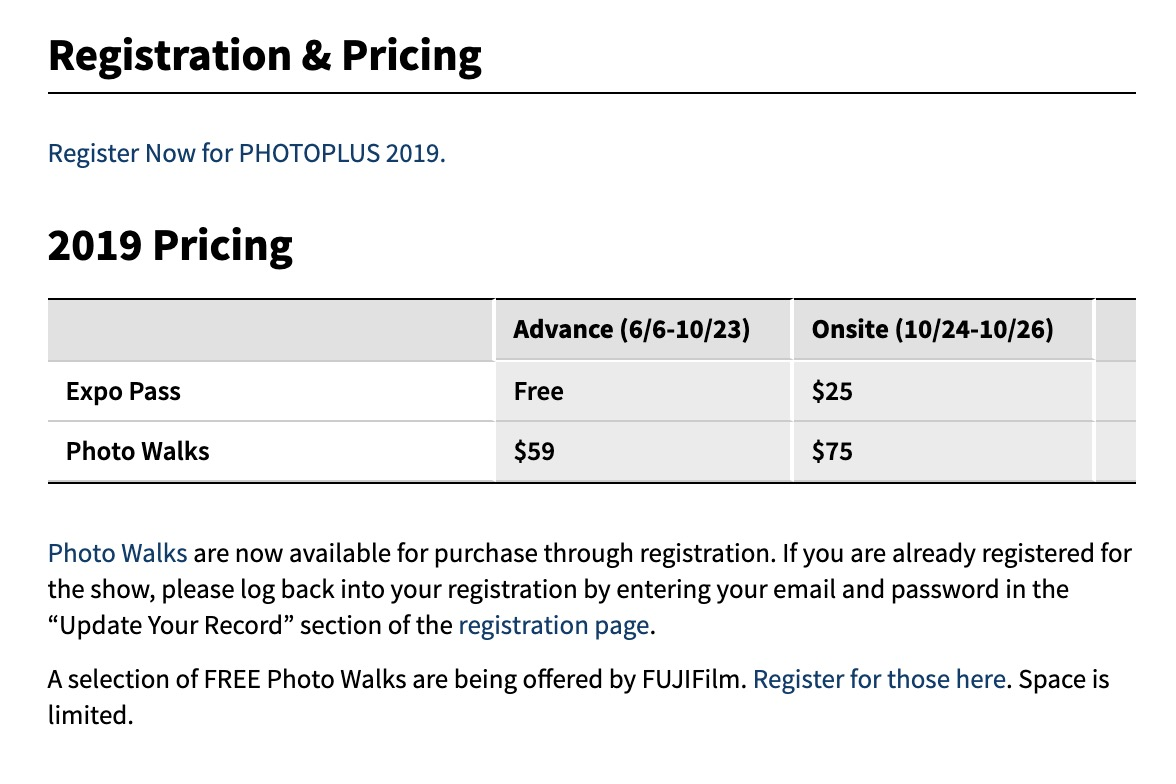 PhotoPlus Expo Free Pass Info