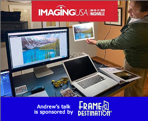 Andrew Darlow comparing a screen to a print to help promote his talk at Imaging USA 2020.